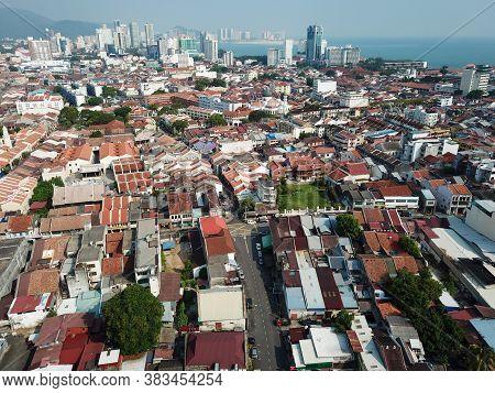 Georgetown, Penang/malaysia - Mar 21 2020: Aerial View Georgetown Old Heritage Rooftop In Morning.