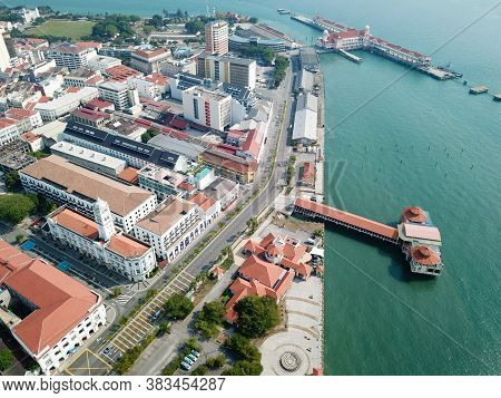 Georgetown, Penang/malaysia - Mar 21 2020: Aerial View Less Car Traffic At Town. Movement Control Or