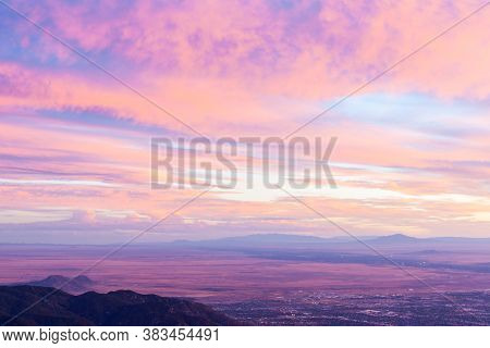 Sunset Across New Mexico Landscape From Sandia Peak, Albuquerque, New Mexico, Usa.