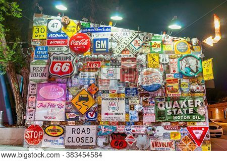 Albuquerque, New Mexico, Usa. - September 19 2015; Wall Of Old Signs And Famous Brands Outside Fr4om