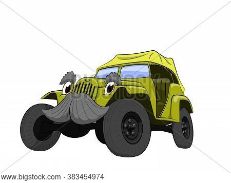 Green Old Suv Car Cartoon On White Background