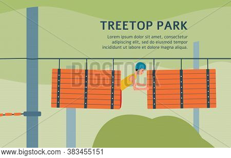 Treetop Rope Park Banner Template With Cartoon Man On Obstacle Course