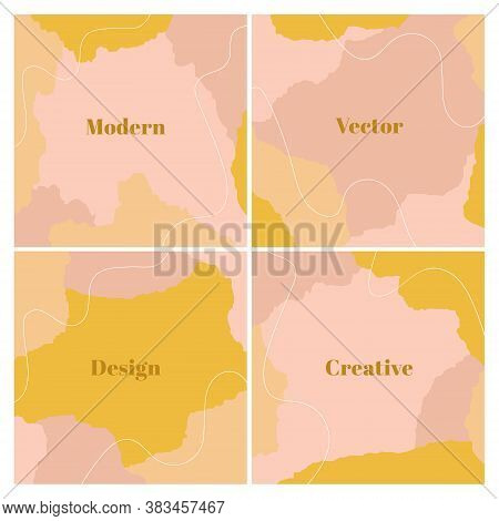 Neutral Set Of Square Backgrounds With Abstract Shapes And Hand Draw Line In Pastel Colors. Modern D