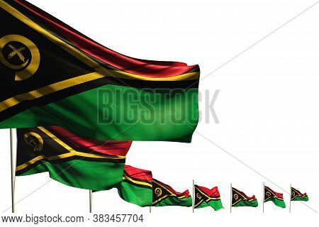 Nice Memorial Day Flag 3d Illustration  - Many Vanuatu Flags Placed Diagonal Isolated On White With