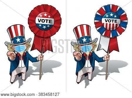 Vector Illustrations Of A Cartoon Uncle Sam Pointing I Want You, Holding A Vote Badge, Wearing A Sur