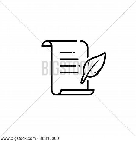 History, Writing, Quill Line Icon. Letter Quill Pen Icon. Document Parchment. Vector On Isolated Whi