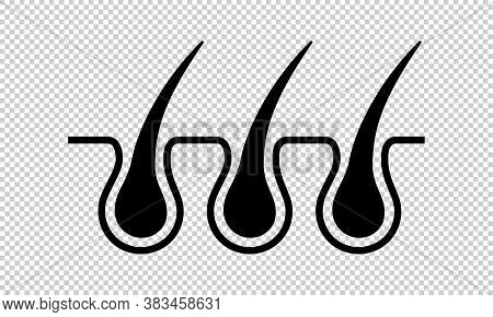 Hair Follicle Growth Line Icon. Trichoscopy: Medical Diagnostics Of Scalp Disease. Laser Depilation