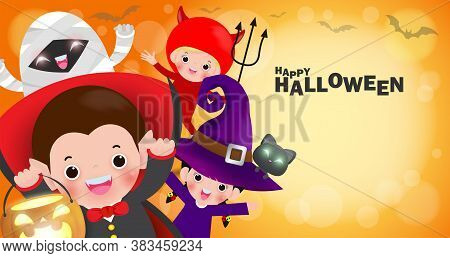 Happy Halloween Kids Costume Party Banner, Group Of Children In Halloween Cosplay. Template For Adve
