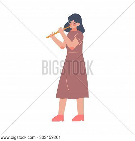 Woman Musician Playing Flute, Classical Music Performer Character With Musical Instrument Flat Style