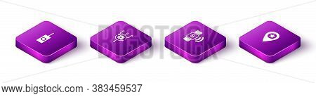 Set Isometric Remote Control, Algorithm, Contactless Payment And Location With Star Icon. Vector