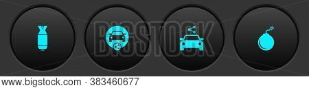 Set Aviation Bomb, Car Sharing, And Bomb Ready To Explode Icon. Vector