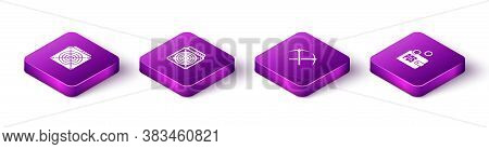 Set Isometric Asic Miner, , Crossed Pickaxe And Proof Of Stake Icon. Vector