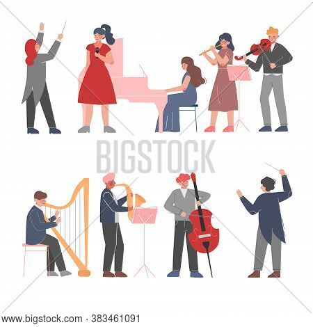 Musician Characters Playing Musical Instruments Set, Playing Violin, Classical Instrumental Symphony