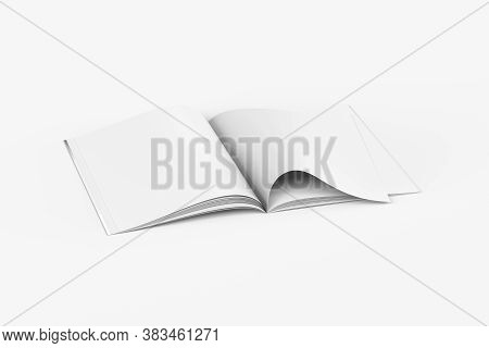 Blank Open Magazine In A4 Size On White Background - Open Magazine With One Page Curled Up - Mockup