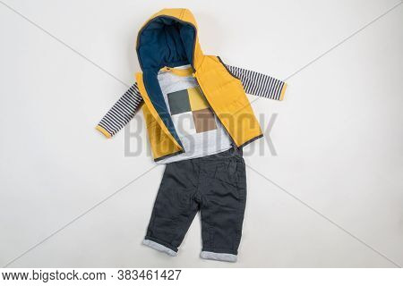 Composition With Fashionable Children Clothes. ?trendy Kids Clothes. Kids Fashion