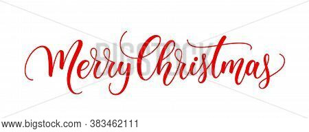 Merry Christmas Text. Xmas Calligraphic Inscription. Christmas Handwritten Lettering. Xmas Text Isol
