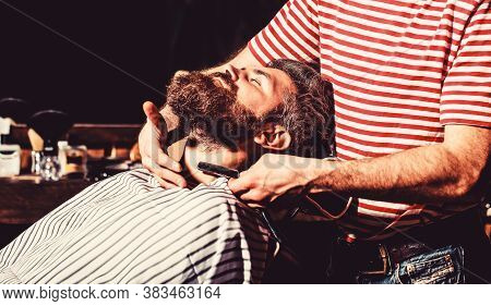 Barber Shaving A Bearded Man In A Barber Shop. Bearded Male In A Barber Shop While Hairdresser Shave