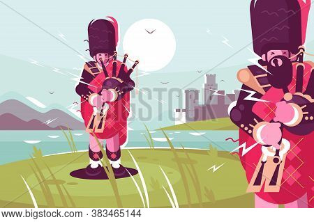 Scottish Men Bagpipers Wearing Traditional Dress. National