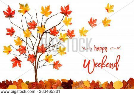 Tree With Colorful Leaf Decoration, Leaves Flying Away, Text Happy Weekend