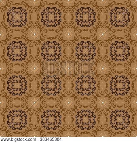 Elegance Pattern Design On Solo Batik With Flower Motifs And Simple Brown Color Design.