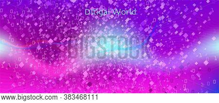 Binary Code Vector Wallpaper. Matrix Falling Binary Code. Fractal Liquid Code Purple Blue Pink Backg