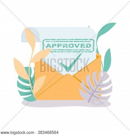 Letter With Message Approved. Green Approved Stamp. Vector Illustration Flat Design. Isolated On Whi