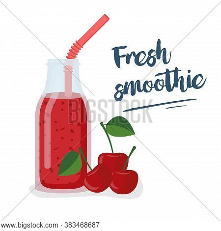 Cherry Smoothie. Template For Menu Or Banner For Healthy Eating. Fresh Energetic Drink For Healthy L