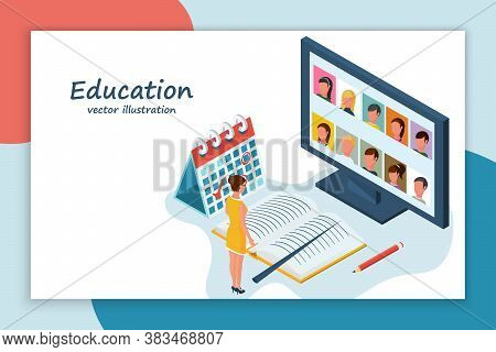 Teacher With Pointer And Book In Front Of A Computer Screen. Online Education. Distance Learning Stu