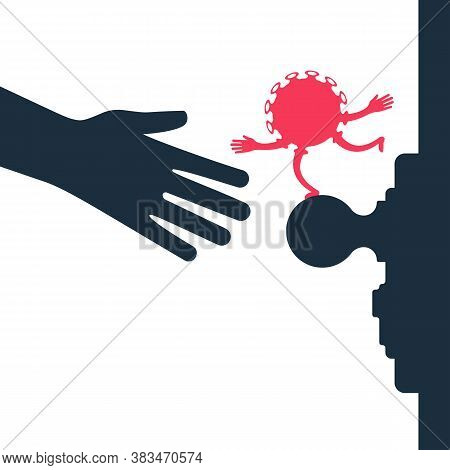 No Contact Black Icon. Precautions Coronavirus Covid-19.virus Bacterium On A Dirty Doorknob. Safety,