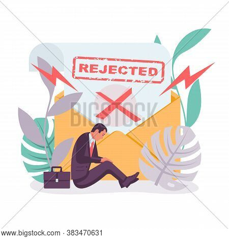Template Landing Page, Refusal In Writing. Rejected Icon. Sad Businessman With A Negative Answer. Re