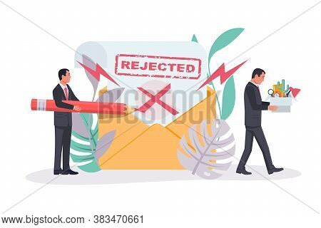 Firing Employee. The Boss Rejects The Job Application. Sad Man With A Box In Hands Leaves Work. Cris