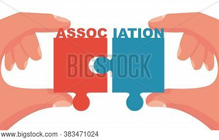 Association Concept. Symbol Teamwork. Two Pieces Of A Puzzle Put Together. Connection Group. Vector