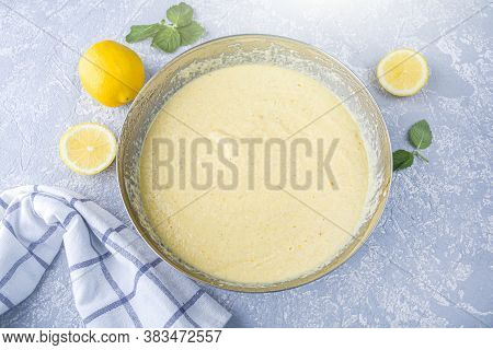 Cooking Lemon Pie Or Semolina Cake. Raw Blended Mix For Bakery In Metall Bowl. Homemade Food Concept