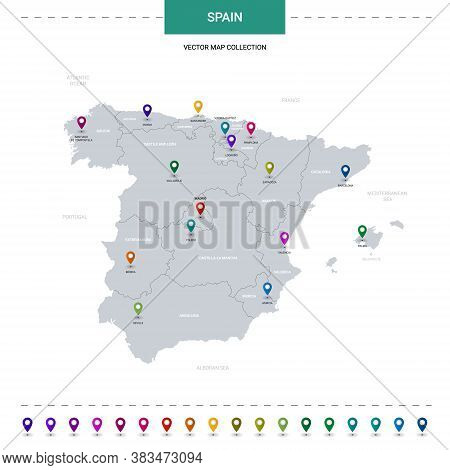 Spain Map With Location Pointer Marks. Infographic Vector Template, Isolated On White Background.