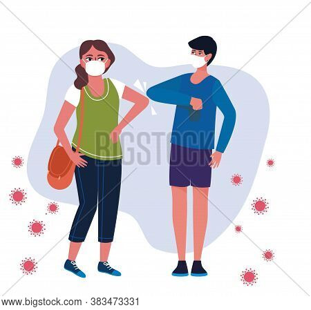 Greetings With The Their Elbows Of Man And Woman Wearing Surgical Masks.shot Of Bump Elbows For Gree