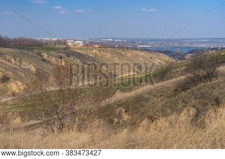 Spring Landscape With Soil Erosion In Outskirts Of Dnepr City, Ukraine