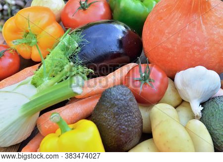 Close On Various  Colorful Vegetables In Bulk