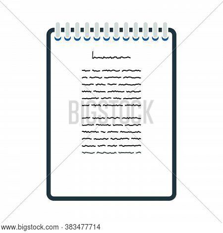 Binder Notebook Icon. Flat Color Design. Vector Illustration.