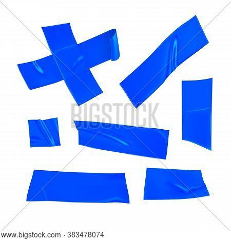 Blue Duct Tape Set. Realistic Blue Adhesive Tape Pieces For Fixing Isolated On White Background. Adh