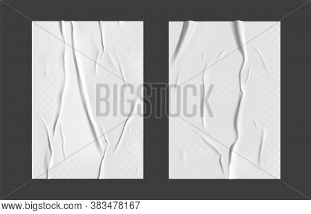 Glued Paper Set With Wet Transparent Wrinkled Effect On Gray Background. White Wet Paper Poster Temp