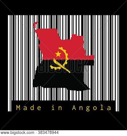 Map Outline And Flag Of Angola, Red And Black With The Machete And Gear Emblem On The White Barcode