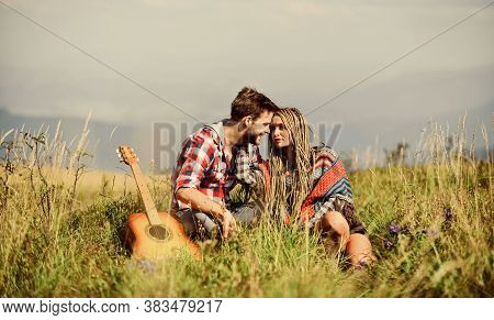 Hiking Romance. Beautiful Romantic Couple Happy Smiling Faces Nature Background. Boyfriend And Girlf