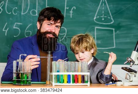 Back To School. Educational Concept. Father And Son At School. Teacher Man With Little Boy. School E