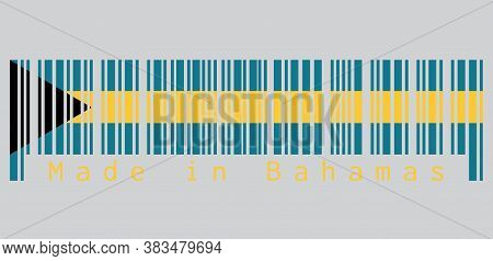 Barcode Set The Color Of Bahamas Flag, Aquamarine And Gold Color With The Black Chevron Aligned To T