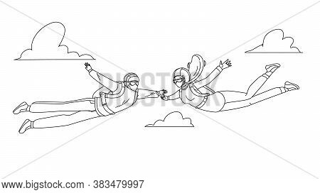 Skydivers Man And Woman Skydive In Air Vector