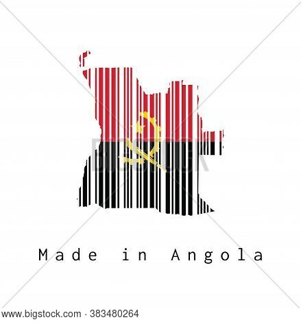 Barcode Set The Shape To Angola Map Outline, Red And Black With The Machete And Gear Emblem On White