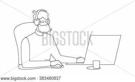 Man Coder Development Programming Computer Vector Illustration
