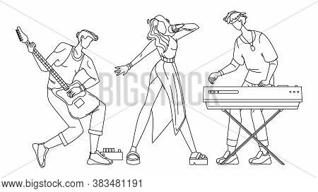 Music Band Artists Performing Song Concert Vector