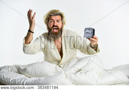 Stop Ringing. Time To Wake Up. Early Morning Routine. Bearded Man In Bed With Alarm Clock Ringing. T