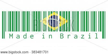 Barcode Set The Color Of Brazil Flag, Green Yellow And Green Color In White Background With Text: Ma